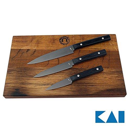 Kai Michel Bras Quotidien 3er Messerset, ultrascharfes Allzweckmesser BK-0026, Schälmesser BK-0025, großes Messer BK-0027, großes Scheidebrett aus Fassholz (Eiche) 35x25 cm Michel Bras Kai