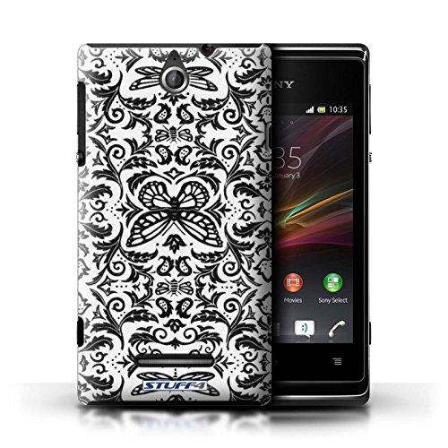 Kobalt® Imprimé Etui / Coque pour Sony Xperia E / Bleu conception / Série Motif médaillon Noir / Blanc