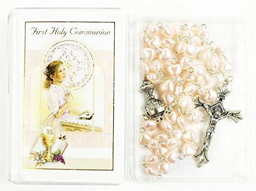 Erstkommunion wie zu beten Pink Rosenkranz Perlen Halskette Geschenk ihr Mädchen (Die Anzüge Erstkommunion Für)