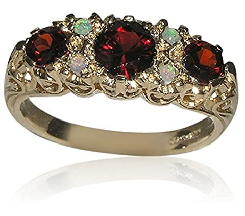 Luxury Solid 9ct Hallmarked Gold Garnet & Opal Victorian Style Ring - Size M 1/2 - Finger Sizes K to Y