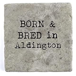 Born & bred in Aldington - Single Marble Tile Drink Coaster