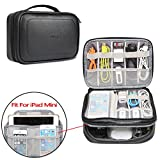 BUBM Travel Cable Bag, Ultra-compact Electronics Gadget Organiser Case for Data Cables, Chargers, Plugs, Memory Cards, CF Cards and More--a Sleeve Pouch Fits for iPad Mini (Medium, PU Leather)