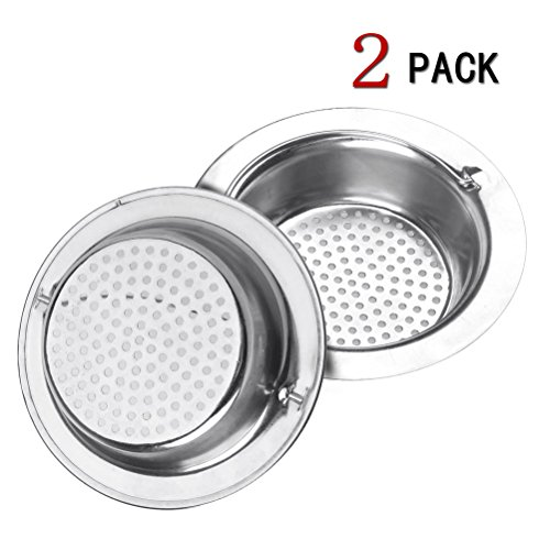 sicai-2pcs-stainless-steel-kitchen-sink-strainer-with-head-held-large-wide-rim-43in-diameterperfect-