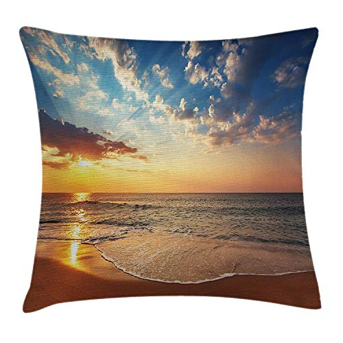 Ocean Throw Pillow Cushion Cover, Cloudscape Over The Sea Honeymoon Travel Destination Sunrise Panoramic Shot, Decorative Square Accent Pillow Case, 18 X 18 inches, Blue Yellow Brown