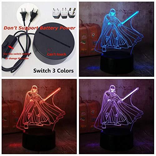3D Night Light LYD Lámpara de mesa RGB Cool Star Wars Darth Vader 7 Color Sleeping Home Decoration...