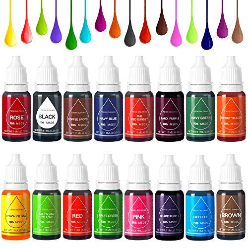 Colorante alimentare liquido coloranti alimentari gel 16 x 11ml alimenti molto concentrato usati per panna, glassa, cioccolato - 16 colori
