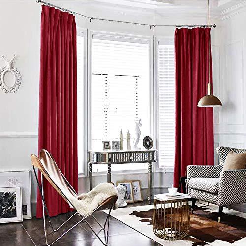 TOPICK Baumwollflanell Flanell Velvet Vorhang in Edler Samtoptik Schlafzimmer Gardine Dekoschal mit Stangendurchzug, Licht blockierend, Rot (1 Paneel, 241 x 132 cm) -
