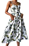 Angashion Damen V Ausschnitt Spaghetti Buegel Blumen Sommerkleid Elegant Vintage Cocktailkleid Kleider, Größe: S, Farbe: Weiß