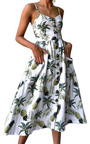 Angashion Damen V Ausschnitt Spaghetti Buegel Blumen Sommerkleid Elegant Vintage Cocktailkleid Kleider, Größe: L, Farbe: Weiß