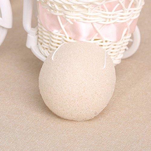 Pixnor Facial Sponge Reinigungstuch Natürliche Konjac Schwamm Peeling und tiefen Reinigung Poren Pack 3Schwarz Cream cremefarben -