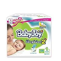 بيبي جوي الحشوة الماسية المضغوطة، مقاس 1، المولود الجديد، 0-4 كغ، الصندوق الجامبو، 136 حفاض