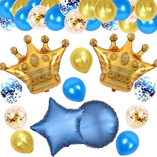 JOYMEMO Royal Party Dekorationen Gold und Blau mit Krone Ballons für Baby Shower, Geburtstagsfeier, Hochzeit und Engagement