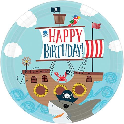 8 Teller * AHOY * für Kindergeburtstag und Motto-Party | AHOI Kinderpiraten Pirat Seeräuber Freibeuter Schatzsuche Kinder Geburtstag Mottoparty Partyteller Pappteller Einweg