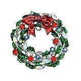 QUKE CZ Bunte Silber-Ton Weihnachtskranz -Brosche Bow-Knoten Strass Weihnachtsdekoration Geschenk