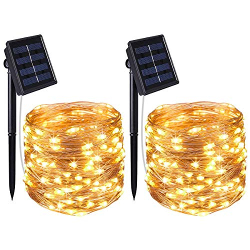 Criacr Solar String Lights, (100 LED, 2 Modes) Starry Fairy Lights, 33ft (10m) Indoor/Outdoor Copper Wire String Lights, for Garden, Home, Patio, Wedding, Party (Warm White-Pack of 2)