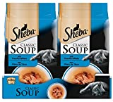 Sheba Adult Katzen-/Nassfutter, für erwachsene Katzen Classic Soup, mit Thunfischfilets, 12 Portionsbeutel (12 x 40 g)