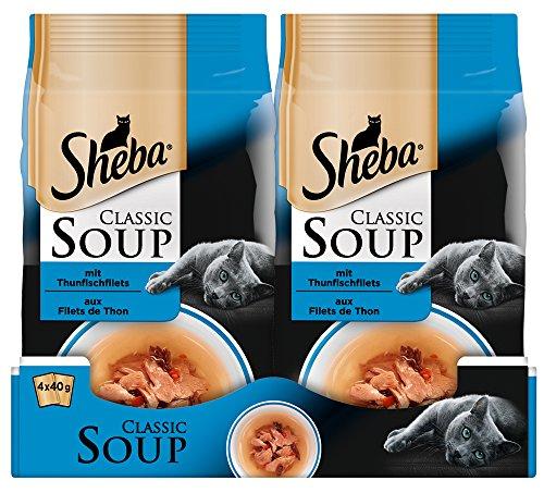 Sheba Classic Soup, Thunfischfilets Katzenfutter als Snack zur Ergänzung, Für den Saucen-Liebhaber