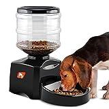 LESHP Comedero Automático para Perros, Gatos y Mascotas, Dispensador de Comidas, Grabación de Mensajes de Voz, Temporizador Programable con Pantalla LCD 5.5L - Negro