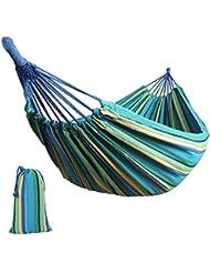 Anyoo Baumwolle Garten Hängematte Outdoor Camping Tragbare Leinwand Swing Bed Streifen 200Kg Kapazität Leicht mit Tragetasche für Patio Yard Strand Wandern Wandern