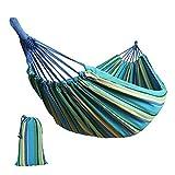 Anyoo Cotone Garden Hammock Camping Outdoor portatile Canvas Swing Bed Stripe 200Kg Capacità leggera con sacchetto porta per Patio Yard Beach Backpacking Escursioni