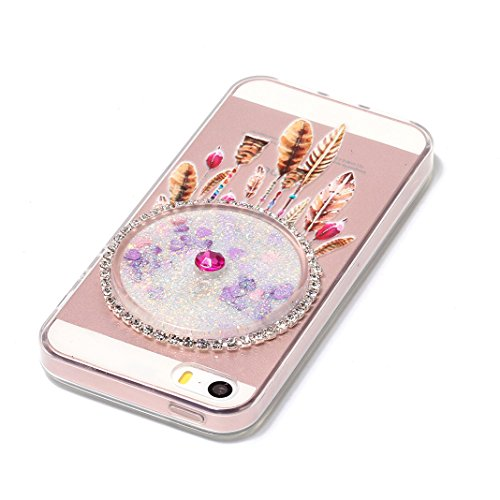 Housse iPhone 5/5S/SE OuDu Étui en Glitter Silicone Attrapeur de Rêves Coloré [Housse de Flottant][Pas de Fuite] Coque Transparente Flexible Mince **NEW** Housse Sable Mouvant Bling Étui TPU de Haute  Attrapeur de Rêves Coloré #5