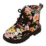 LvRao Bambino Toddler Ragazze Floreale Scarpe per Bambini inverno Caldo Stivali Martin Boot Scarpe (Nero #Sintetico pelliccia foderato, CN 25)