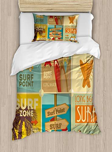 Lunarable Surf Bettbezug Set by, Retro Poster Collection Summer Vacation Thema Hobby Wasser Sport California Strand, Dekorative Bettwäsche-Set mit kissenrollen, Multicolor Twin/Twin XL Multi 1 (Jungen Betten Für Twin Xl)