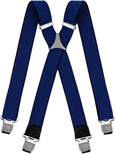 Decalen bretelle uomo donna unisex larghe 4 centimetri forma a x regolabile ed elastico per i pantaloni molto forti clip vari colori (blu)