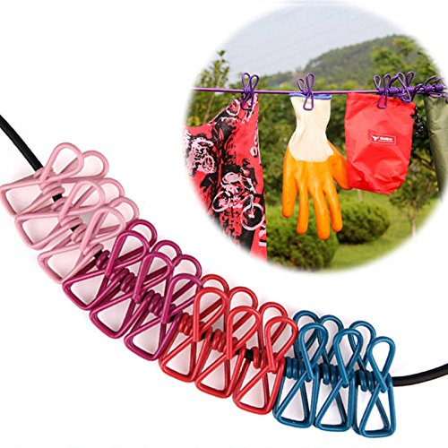 Leoie Outdoor Indoor Home Travel Colorful Clothesline Portable Elastic Adjustable Laundry Line Windproof & Antislip with 12pcs Clothespins