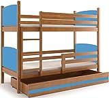 Interbeds Cama Doble - litera Infantil,Tami, 160X80, Color Aliso, los Paneles (colchones,somieres y cajón Gratis) (Azul)