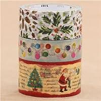 Set nastri adesivi Washi natalizi 3 pz agrifoglio luci storie natalizie
