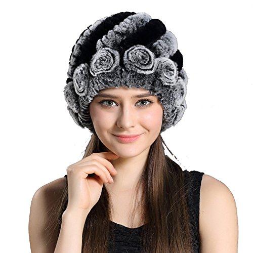 Befur Women Genuine Knit Fur Hats Russian Caps with Fur Ball Pom Pom