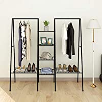 JURMERRY Large Clothes Rail Clothing Rack Stand,Metal Garment Rack Coat Stand Top Rod Metal with Shoes Shelves