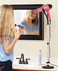 5 Star Super Deals Hands Free Hair Dryer Stand Holder - Blow Dryer Mount For Hands Free Drying - Blowdryer Stand Perfect For Any Counter - Attachment Makes Styling , Curling , Straightening & More Easy