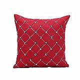 LONUPAZZ Taie D'Oreiller Imprimé Plaid Housse De Coussin BrodéE CarréE Polyester Maison DéCoration 45X45 (Rouge)