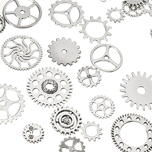 KUNSE 60-70Pcs Steampunk Altered Art Craft Cyberpunk Gear Wheels Decoration Part