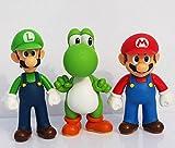 3pcs/set Super Mario Bros Luigi Mario Yoshi PVC Action Figures toy...