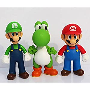 3pcs/set Super Mario Bros Luigi Mario Yoshi PVC Action Figures toy 13cm by Brand New 7