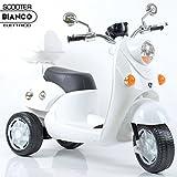 Bakaji Moto Scooter Elettrico Ricaricabile Vespina Vintage per Bambini 6V colore Bianco,