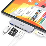 Hommie 6 in 1 Adattatore iPad PRO 11, Hub per iPad PRO 12.9 3rd/ 2018, con 4K HDMI, USB-C PD Caricare, USB 3.0, 3.5mm Cuffie Jack; SD/TF Card, per 2018/2017/2016 MacBook PRO