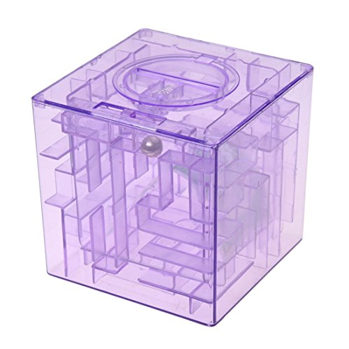 Caja de coleccion - SODIAL(R)Banco del laberinto de dinero cubico de plastico Caja de coleccion de ahorro de moneda 3D Rompecabezas (Purpura)