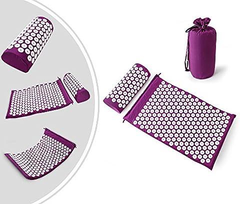 Leogreen - Kit d'Acupression avec Tapis et Coussin, Set de Massage, Violet, avec sac et coussin, Standards/Certifications: ROHS, Nombre de clous: 66 pièces sur oreiller