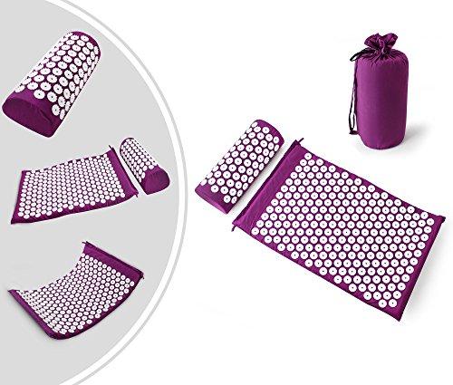 Leogreen - Kit d'Acupression avec Tapis et Coussin, Set de Massage, Violet, avec sac et coussin, Standards/Certifications: ROHS,...