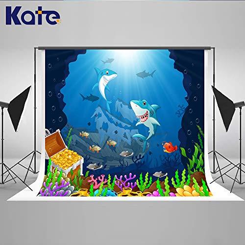 Kate Unterwasserwelt Foto Kulisse Kinder Cartoon Meer Foto Kulisse Piraten Thema Party Dekoration faltbar Studio Hintergrund 2,2 * 1,5m