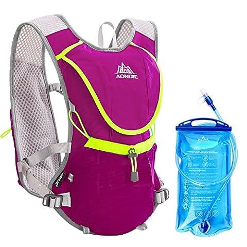 Geila Sport extérieur Trail Marathoner Courir Course Hydratation Vest Hydration Pack Sac à dos avec la vessie 1 de l'eau (rose