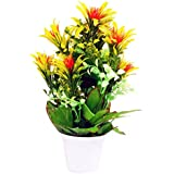 PG Creations Roses Flower Bunch Artificial Flower Plant With Plastic Vase Pot ( Size 30 Cm | Red Yellow )