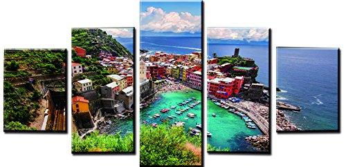obella Modern Leinwand Bilder Drucke Art Wand 5Stück || Sea Mountain Farbe Haus & Boot || Poster Öl Gemälde Prints und Bilder Foto Wand Kunst für Zuhause decoration-frameless (Boot-rack Ski-und)