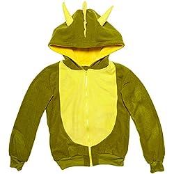 Widmann 07031–Adultos Disfraz Dinosaurio, sudadera con capucha, verde, tamaño L/XL