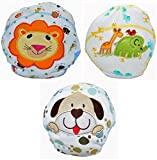 Baby Bucket Baby Boys & Girls Breathable Soft Cotton Diaper Panty Reusable Cartoon Embroidery Panties set of 3 (Hard Print, 0-6 Months)