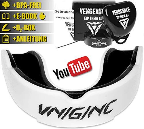 Vengeance MMA Premium Mundschutz | inklusive Video-Tutorial | + Hygienebox + Namensschild + E-Book(HCG-Diät) | MMA, Krav MAGA, BJJ, Boxen, Kickboxen | Zahn- und Kieferschutz | universell